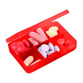 pastillero sencillo con 6 espacios